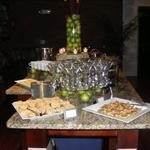 Martini Glass Display for Shrimp and Grits along with Vidalia Onion Tartlets and Pimento Cheese Crostinis